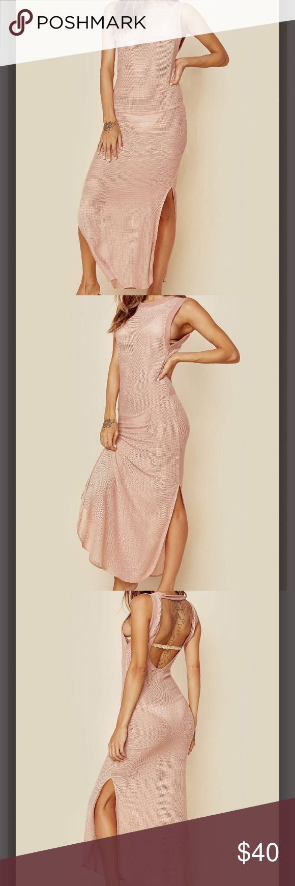 """NWT Beach Riot """"Lex Dress"""" """"Beach Riot's Lex Dress features a nude mesh fabrication and side slits. Perfect for throwing on over a bikini at the beach"""" Beach Riot Dresses Maxi"""