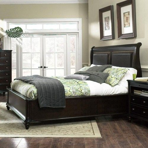 Furniture Brands, Inc. B7067 King Transitional Sleigh Bed with Leather & Nailhead Trim - SleighBedDealers.com