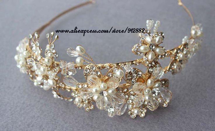 Шикарный царственный королевский ручной винограда 18 К позолоченные королев кингз потрясающие реплика диадемы и короны или повязка на голову для свадьбы
