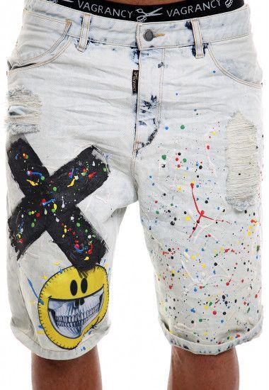 emoji handmade denim shorts