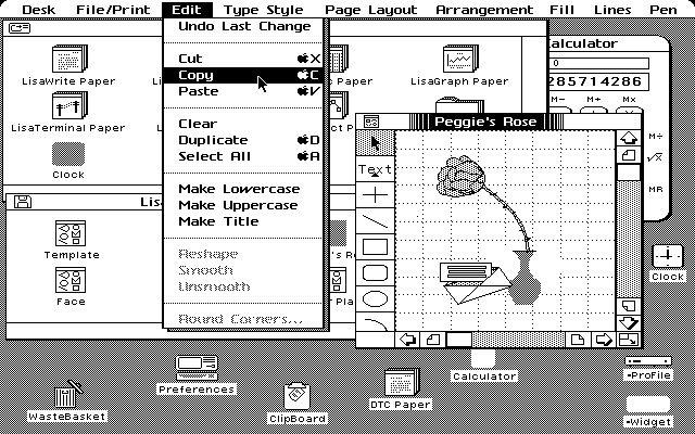 1983  Le Lisa d'apple Computer, premier  ordinateur «grand public» (plus de 100 000  francs de l'époque) avec une souris et une  interface graphique moderne.