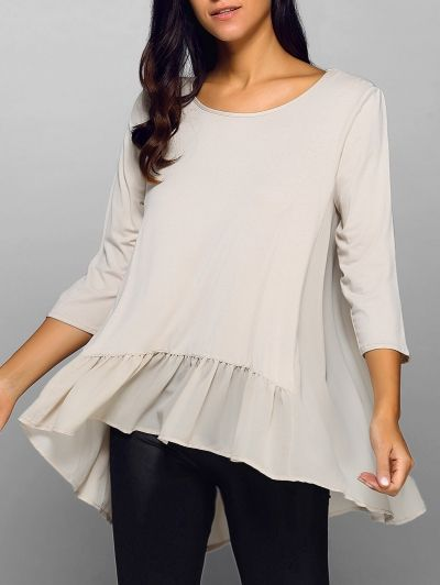 Ruffled Chiffon Hem Top APRICOT: Tees | ZAFUL