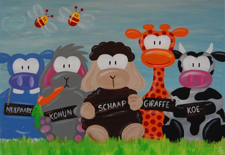 Groot kinderschilderij met nijlpaard, konijn, schaap, giraffe en koe. Blauw grijze achtergrond. Leuk voor zowel een jongens als meiden kamer. Afmeting 100 cm bij 70 cm. Gemaakt door Stephanie Fiseler. www.kinderschilderijen.nl