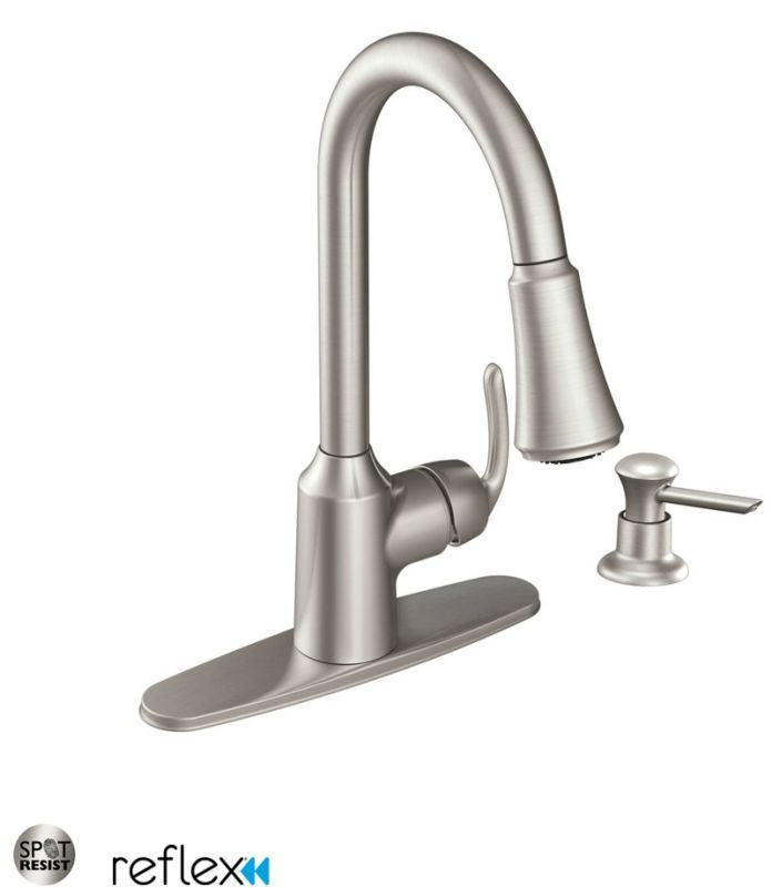 Moen CA87094 Pullout Spray High-Arc Kitchen Faucet with Reflex Technology - Incl Spot Resist Stainless Faucet Kitchen Single Handle