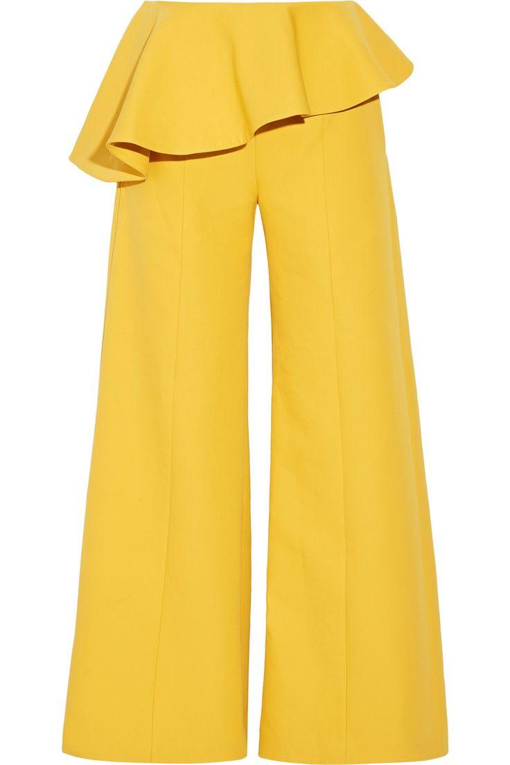 Rosie Assoulin | Bearded Iris peplum cotton-twill wide-leg pants | NET-A-PORTER.COM