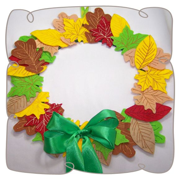 Fall Wreath Machine Embroidery Design pattern-INSTANT DOWNLOAD