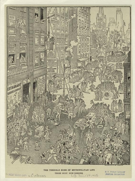 the terrible rush of metropolitan life; those busy new-yorkers (1915) - harrison cady