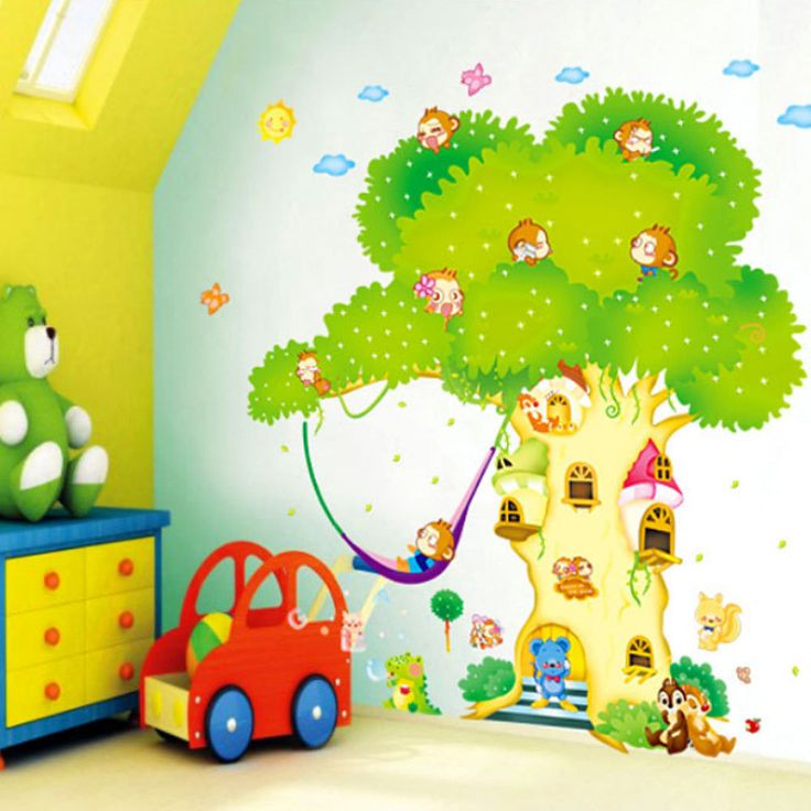 Lovely XXXL Wandtattoo Baum Waldtier Tiere Haus Wandsticker Wandaufkleber Kinderzimmer