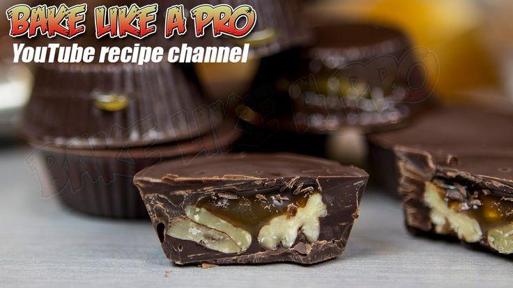 Easy Dark Chocolate Pecan Caramel Cups Recipe BakeLikeAPro YouTube channel