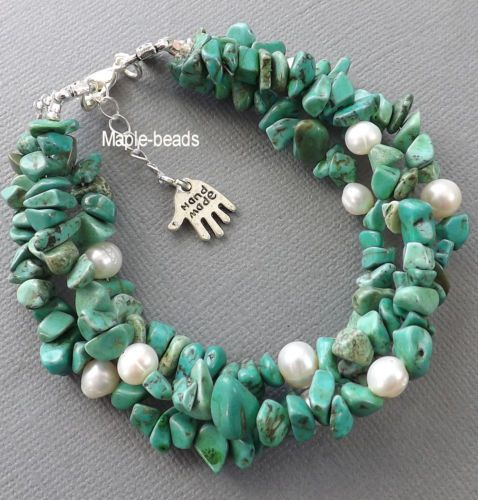 3 Strands Green Turquoise Gemstone Beads White Pearls Handmade Bracelet | eBay