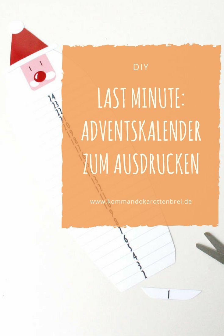 Für alle, die immer schon mal dem #Weihnachtsmann an den Bart wollten.... Ein #Adventskalender auf die allerletzte Minute? Kostenlose #Vorlage und ein #Kalender zum #Ausdrucken und #Abschneiden auf meinem Blog: http://www.kommandokarottenbrei.de/adventskalender-zum-ausdrucken/ #diy #calendar #basteln #crafts #papier #schere #paper
