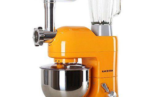 Klarstein Lucia Orangina MKII robot de cuisine multifonction avec bol en inox de 5L (accessoires pour viande et pâte, 6 vitesses, 1200W) –…