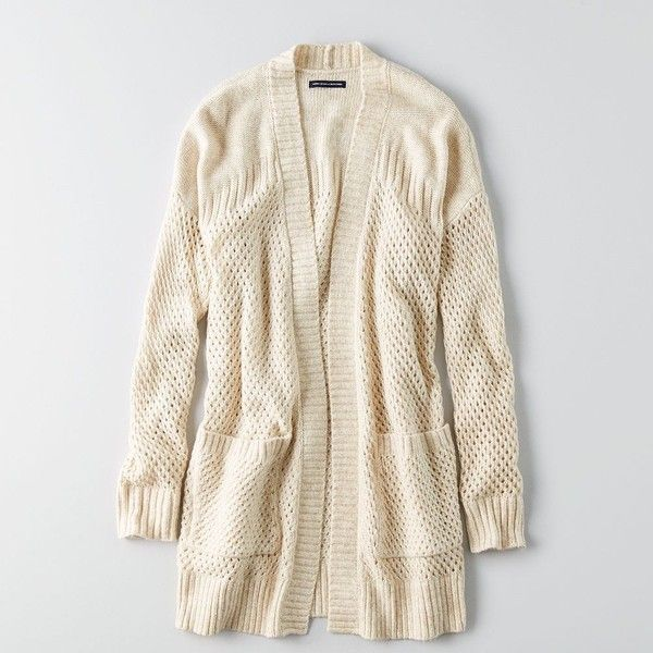AE Pointelle Open Cardigan ($50) ❤ liked on Polyvore featuring tops, cardigans, neutral, american eagle outfitters, open drape cardigan, drapey cardigan, drape cardigan and open cardigan