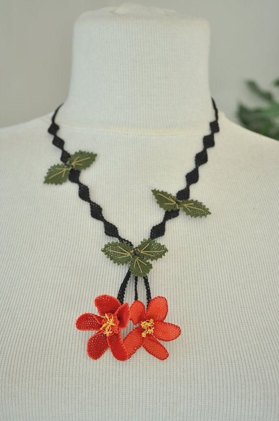 OYA Silk Needle Lace Necklace Hand made Turkish lace by OYASHOP, $45.00