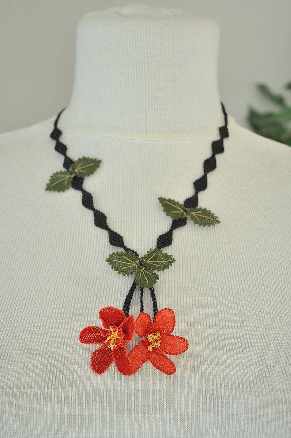 OYA Silk Needle Lace Necklace Hand made Turkish lace by OYASHOP, $45.00