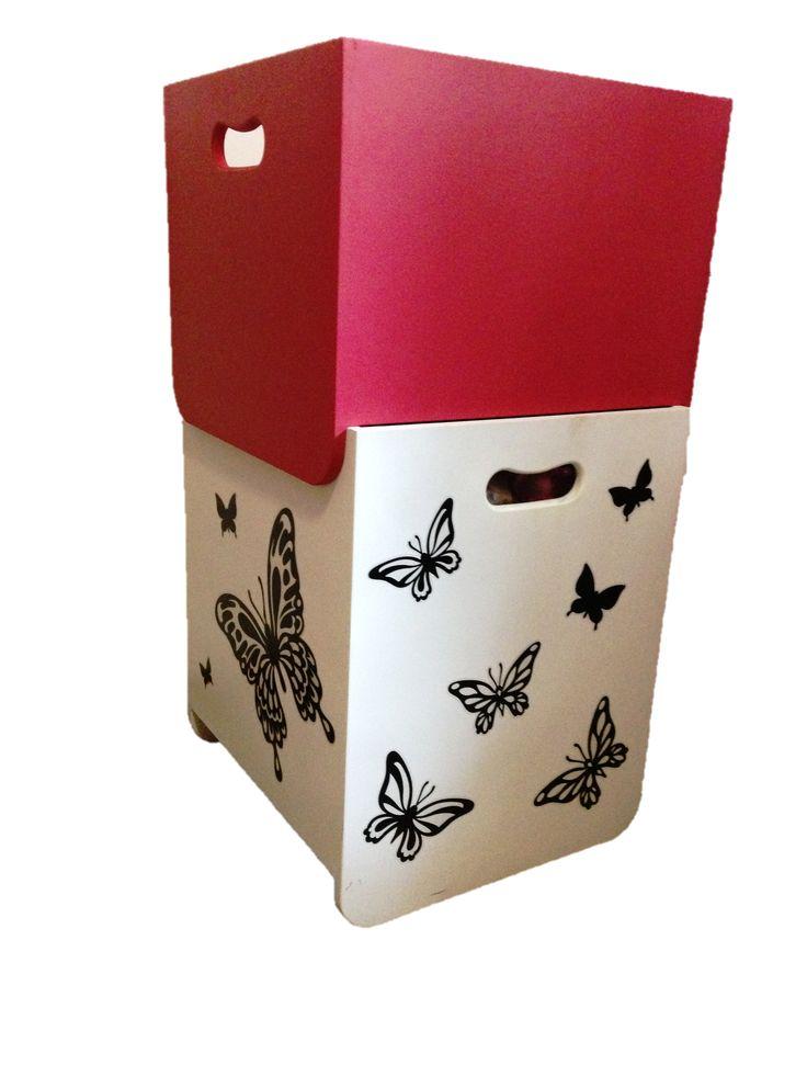 Toy box with custom vinyl decals
