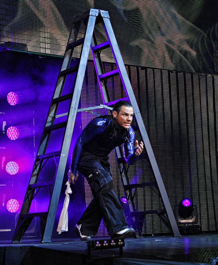 Jeff Hardy so not superstitious him walking under a ladder is proof
