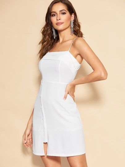 ca7fac6b7a08 Button Through Slit Hem Cami Dress | New In Dresses | Dresses ...
