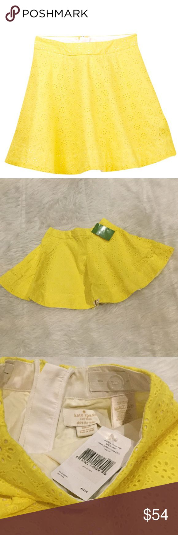 NWT Kate Spade Girl's Coreen Skirt Classic bold hue eyelets detail a charming cotton skirt.  Back zip closure.  Allover Ruffle eyelet construction.  Solid lining.  Color: Lemon Yellow/Cream. kate spade Bottoms Skirts