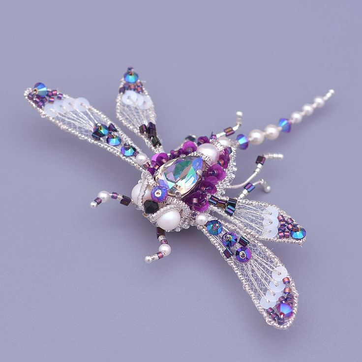 Dragonfly Brooch - Rhinestone Dragonfly Brooch - Bridal Something Blue - Crystal Royal Blue - Dragonfly gift - Insect Brooch - Jewelry gift by leBARMjewel on Etsy