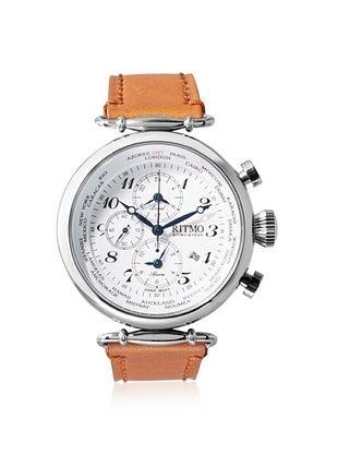 -39,800% OFF Ritmo Mundo Men's 704/2 SS White World Time Analog Display Quartz Brown Watch