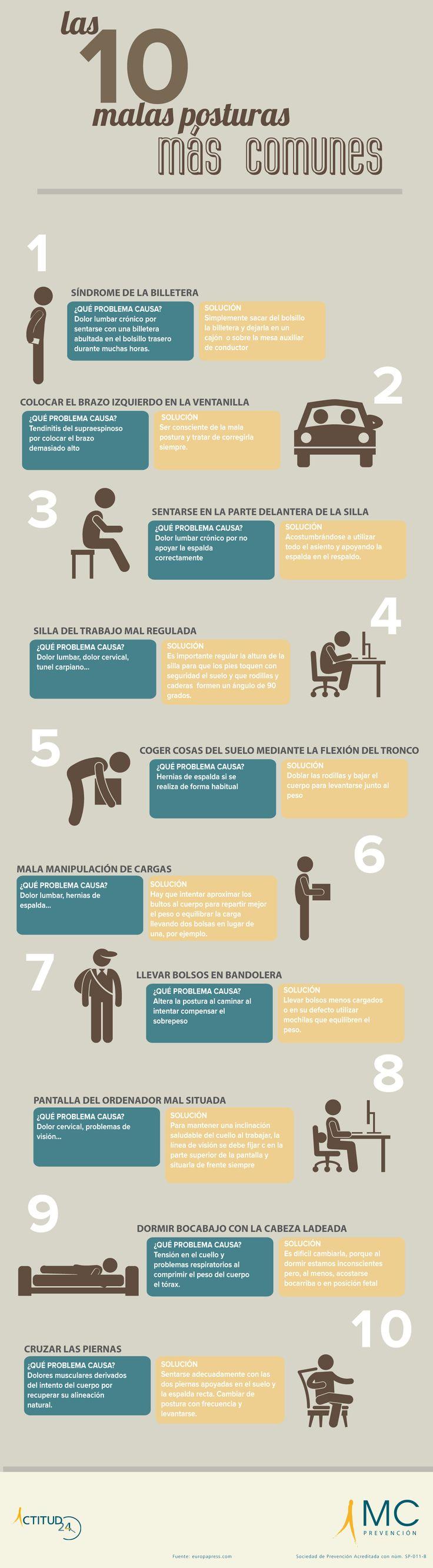 10 malas posturas que producen dolores musculares #infografia #infographic #health vía: http://www.actitud24.com