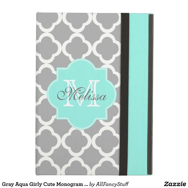 Gray Aqua Girly Cute Monogram Quatrefoil Pattern iPad Air Case