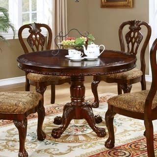 Furniture Of America Carpia Formal Brown Cherry Round Pedestal Prepossessing Cherry Dining Room Chairs Sale Design Decoration