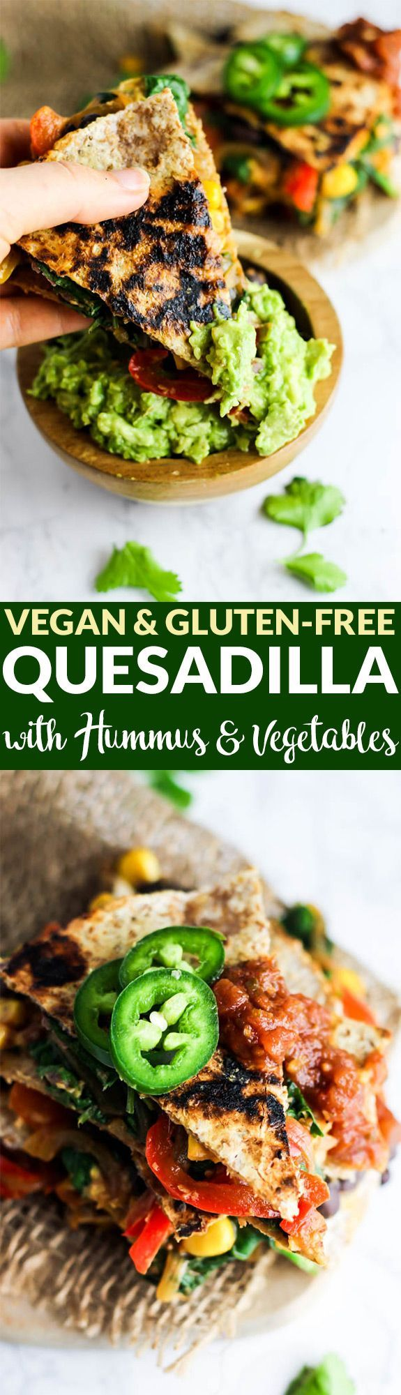 Enjoy this Vegan Quesadilla with Hummus & Vegetables for a healthy, flavorful meal or appetizer that is irresistible! Don't forget the guac. (gluten-free) Made with @HopeFoods. #spon