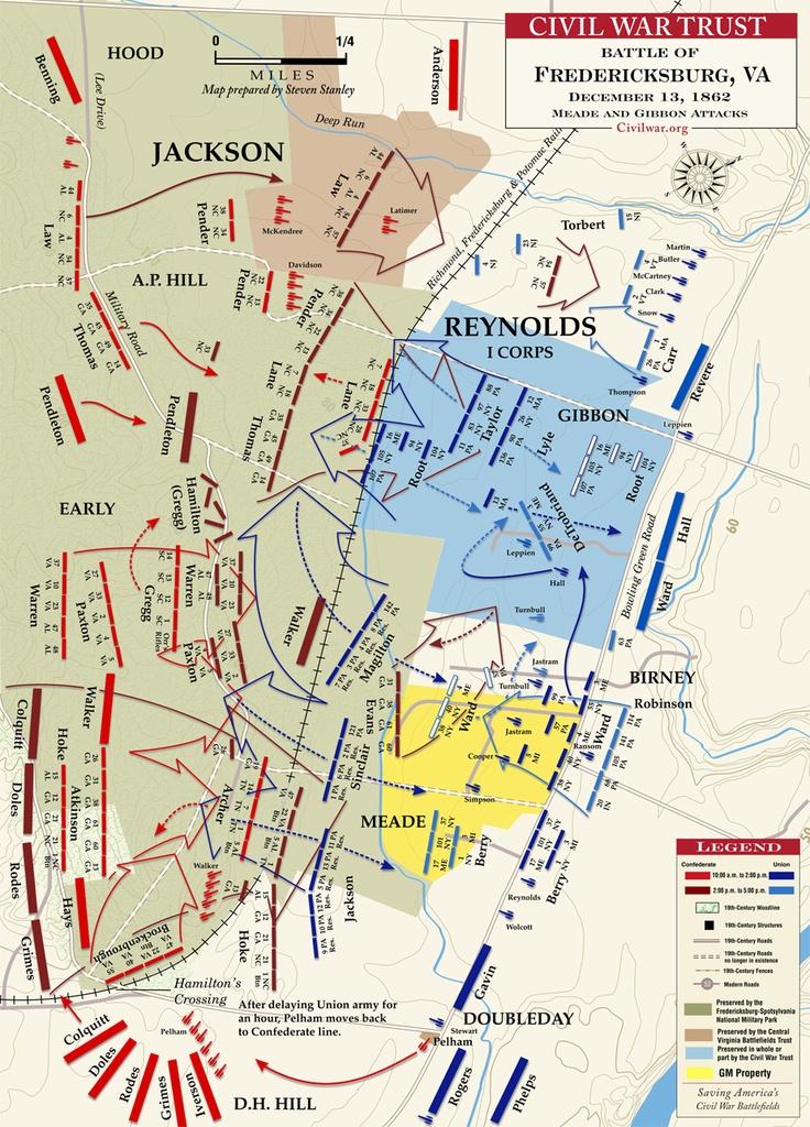 Battle of Fredericksburg, VA (1862) Meade and Gibbon Advance - December 13, 1862