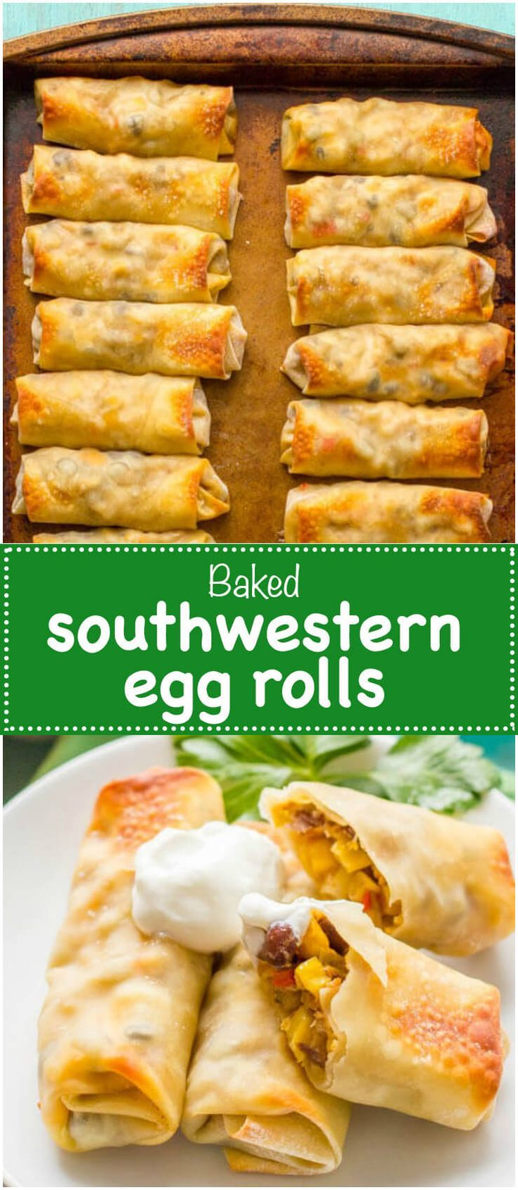 Baked southwestern egg rolls with chicken, black beans and cheese make a perfect game day or party appetizer - these are always a hit! | http://www.familyfoodonthetable.com