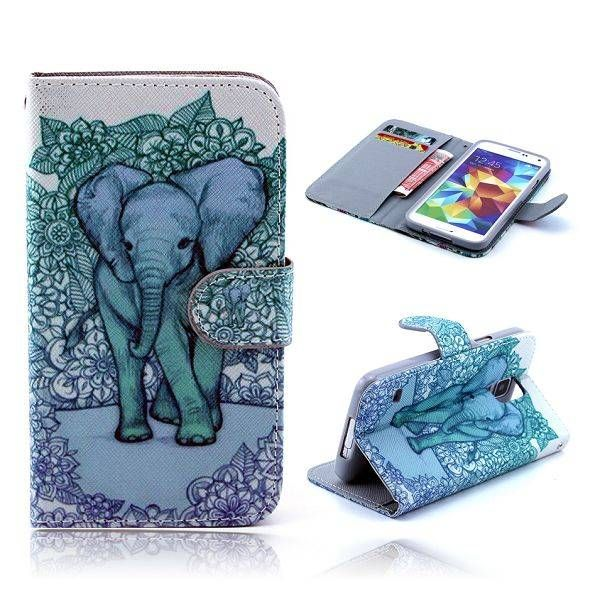 Olifant print bookcase hoesje voor Samsung Galaxy S5