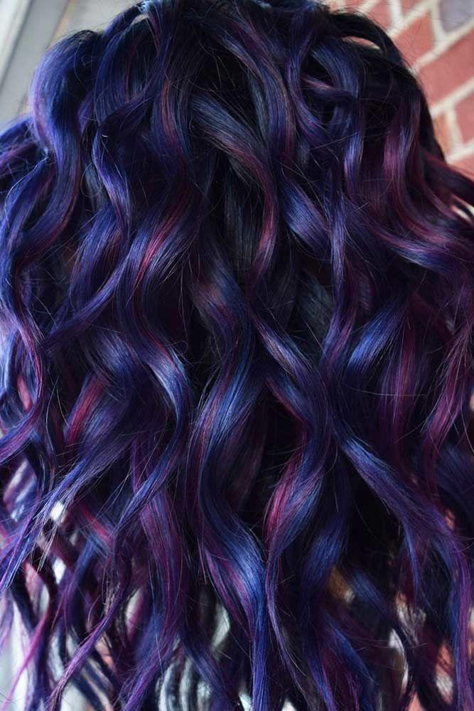 60 Fabulous Purple And Blue Hair Styles Lovehairstyles Com In 2020 Purple Hair Highlights Hair Styles Blue Hair Highlights