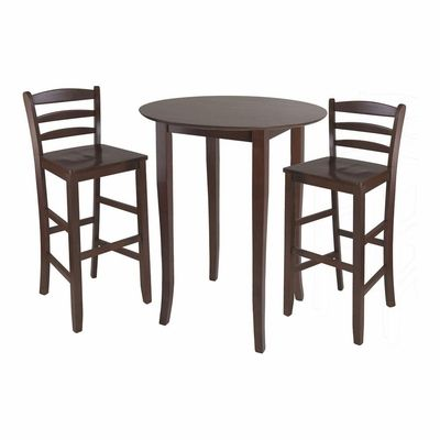 Winsome Fiona High Round Table With Ladder Back Stool,
