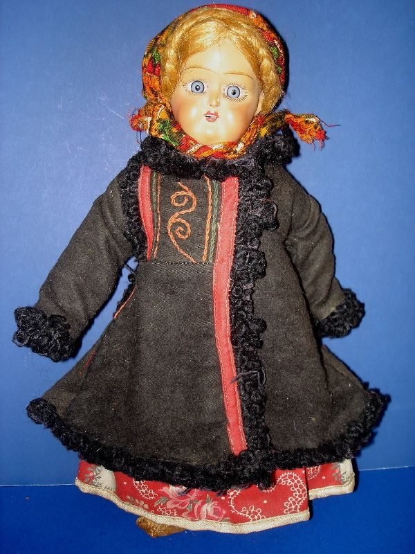 Early Soviet Union Russian Terracotta & Composition Doll