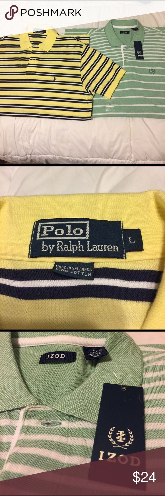 "Pair of Large polo shirts! Superb condition. Pair of Large polo shirts! First one is a ""Polo by Ralph Lauren"" polo that is light yellow with navy and white horizontal stripes. In pristine condition. Second is a ""Izod"" polo NWT near been worn that is seaside green with horizontal white stripes in excellent/mint condition. Get both of them now. Two amazing brands that make the best polo shirts for guys. Try them out for cheaper than regular price. Polo by Ralph Lauren Shirts Polos"