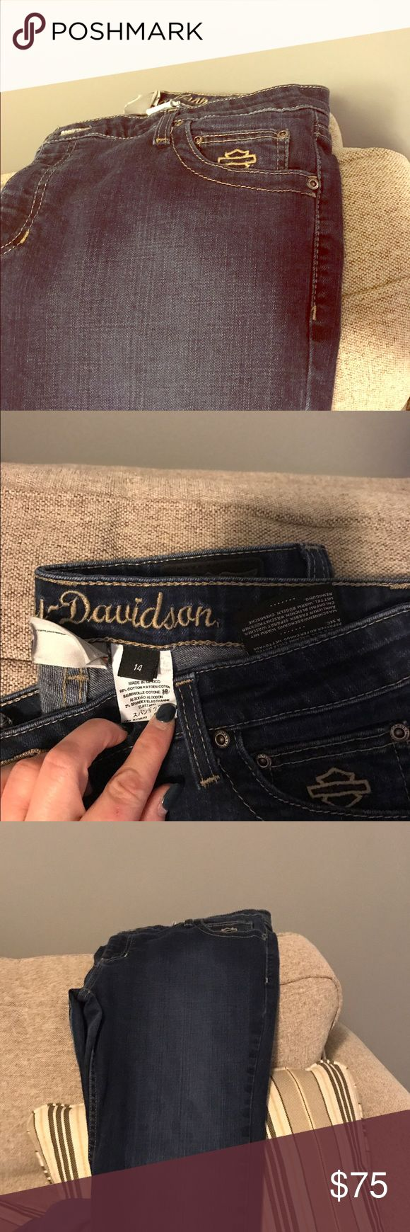 Harley Davidson jeans Dark blue Harley women's jeans gently used Harley-Davidson Jeans Boot Cut