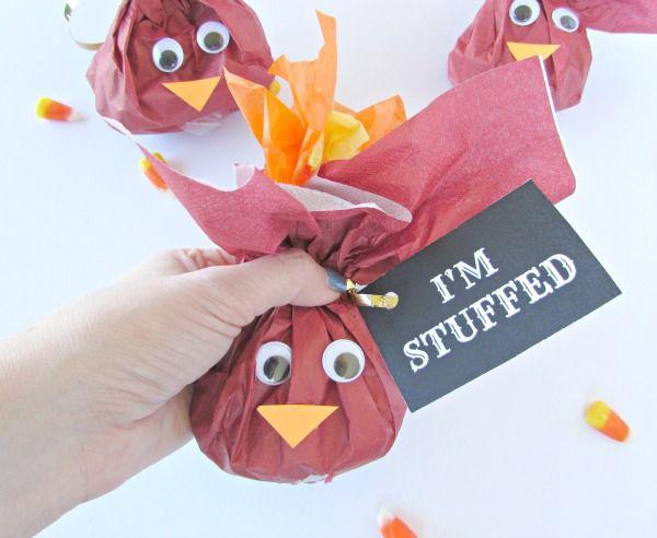 I'm stuffed Turkey Treat bag with candy corn inside