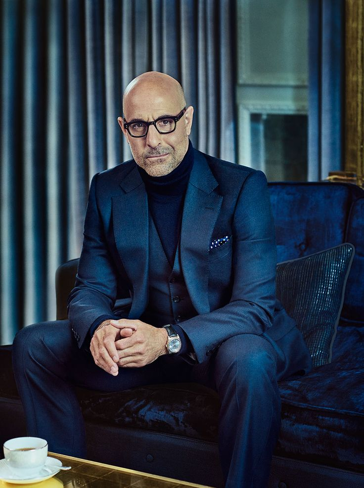 Stanley Tucci. Blue and black.