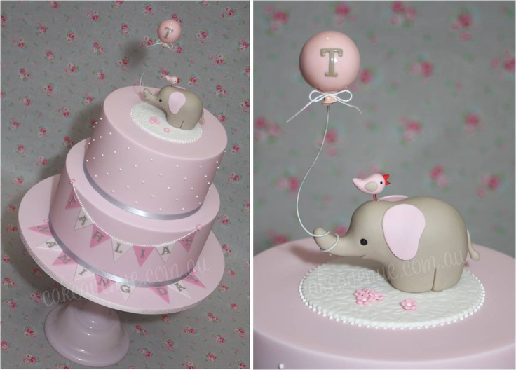 Baby Elephant Cake by Cake Avenue, made to match Style Me Gorgeous baby elephant printables