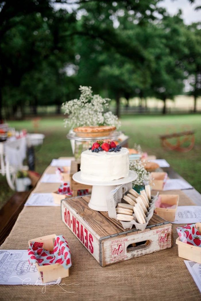 Cake table from a Farmer's Market Birthday Party on Kara's Party Ideas | KarasPartyIdeas.com (24)