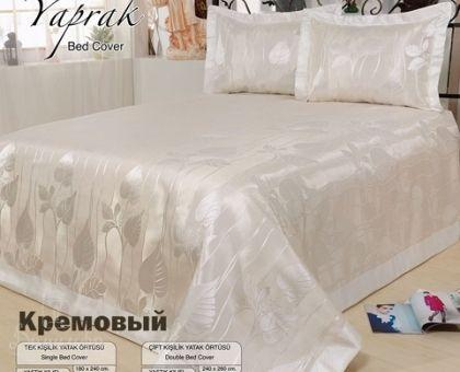 Купить покрывало жаккардовое NAZSU YAPRAK кремовое 240х260 от производителя…