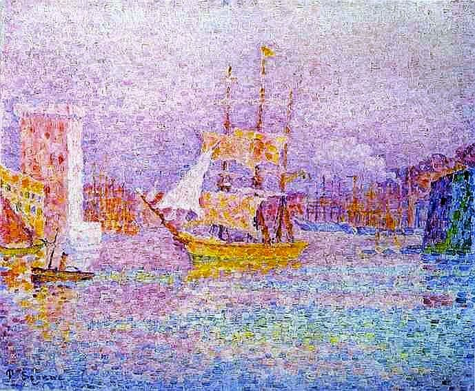 Le port de Marseille par Paul SIGNAC (1863-1935) 1906  pointillisme technique consistant a construire une image conçu integralement de point.