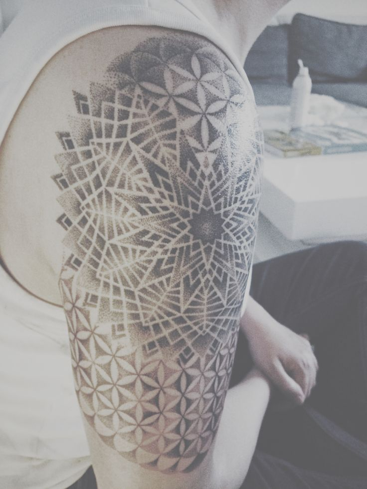 Dotwork tattoo, sacred geometry, mandala, flower of Life