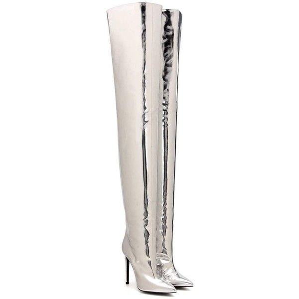 Balenciaga Metallic Over-the-Knee Boots found on Polyvore featuring shoes, boots, silver, thigh-high boots, balenciaga, balenciaga boots, metallic boots and over knee boots