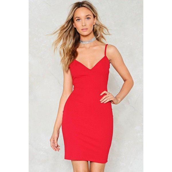 Nasty Gal Don't Forget to Dance Bodycon Dress ($30) ❤ liked on Polyvore featuring dresses, red, v neck dress, v-neck dresses, red mini dress, v-neck camisoles and mini dress