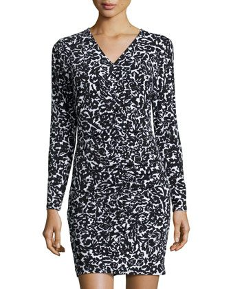 Shirred-Front Floral-Print Dress, Black by MICHAEL Michael Kors at Neiman Marcus Last Call.