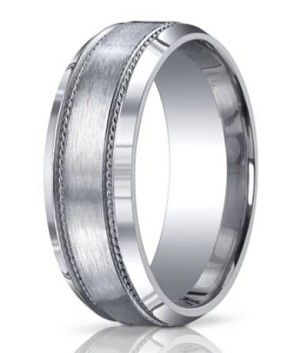 argentium silver wedding ring with decorative and beveled edge 10mm mbs1006 - Wedding Ringscom