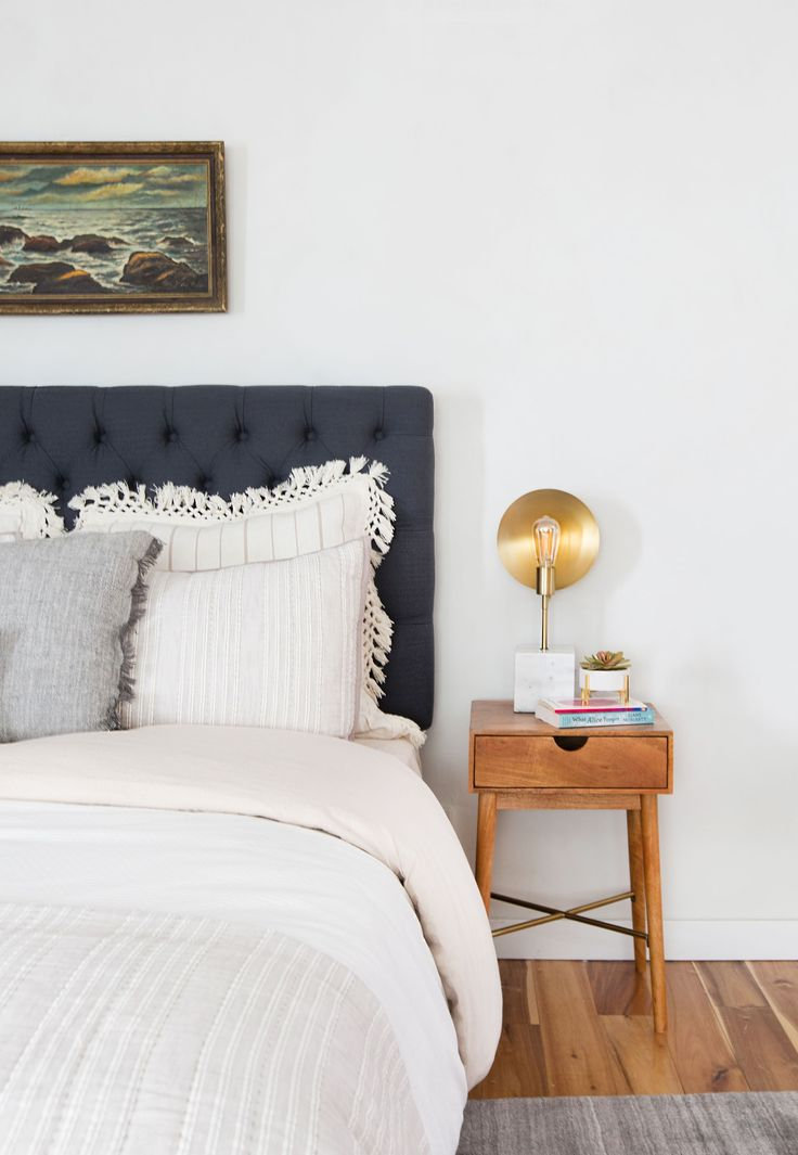 Emily Henderson_Target_Bed Styling_Styling to Sell_White_Blue_Leather_Gray_Guest Bedroom_6