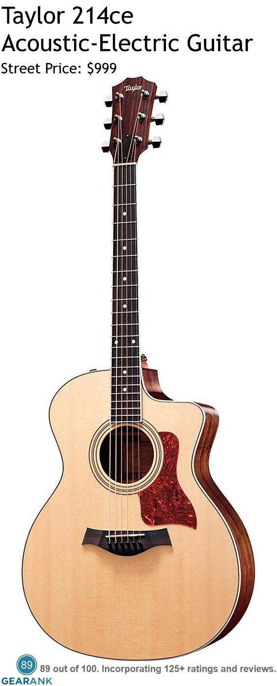 Taylor 214ce Acoustic-Electric Guitar. It has a Grand Auditorium body built with a solid Sitka Spruce top and laminated Rosewood back and sides. It has Taylor's Expression System 2 electronics which features three uniquely positioned behind-the-saddle  and individually calibrated pickup sensors.  For a Detailed Guide to Acoustic Guitars see https://www.gearank.com/guides/acoustic-guitars